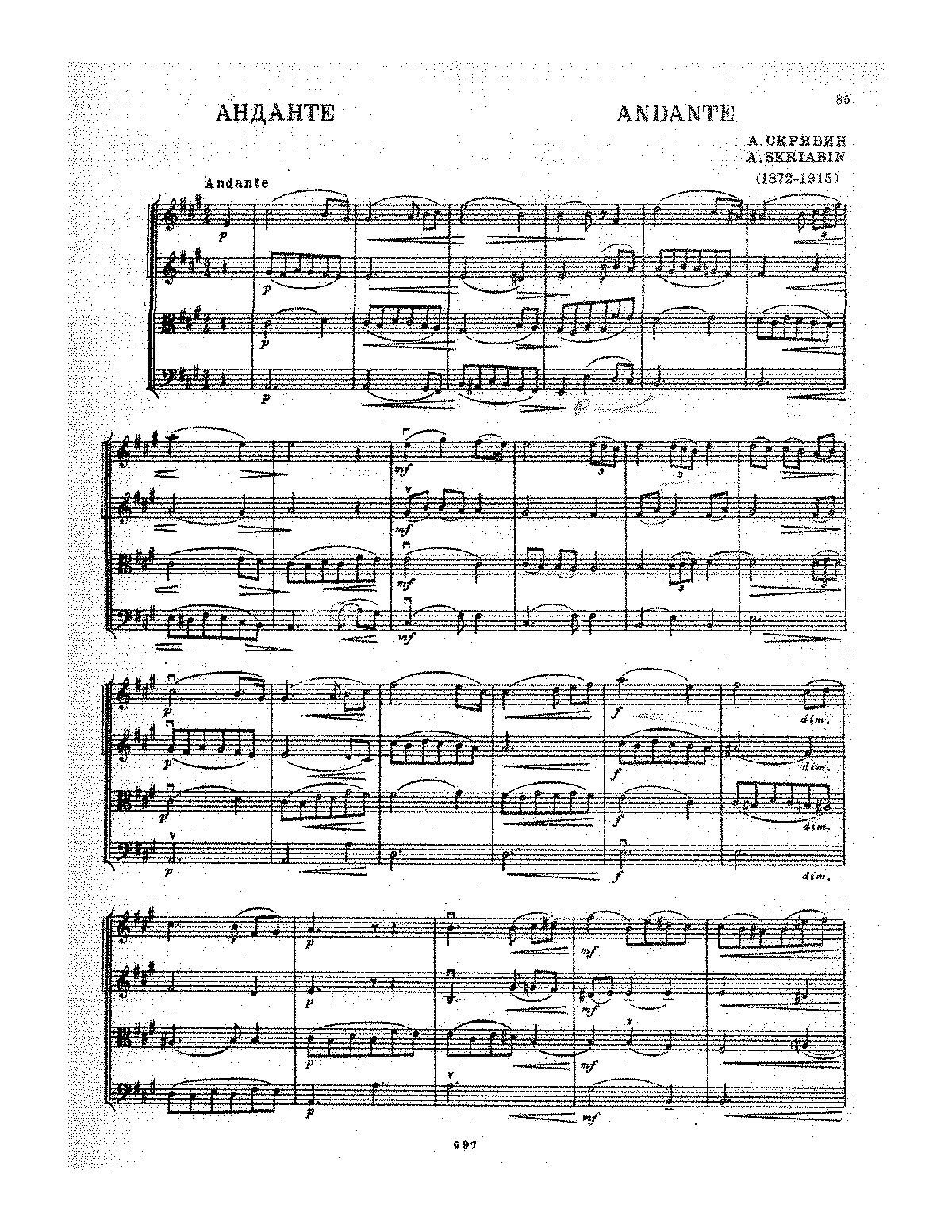 Andante for string orchestra scriabin aleksandr imslp general information hexwebz Images