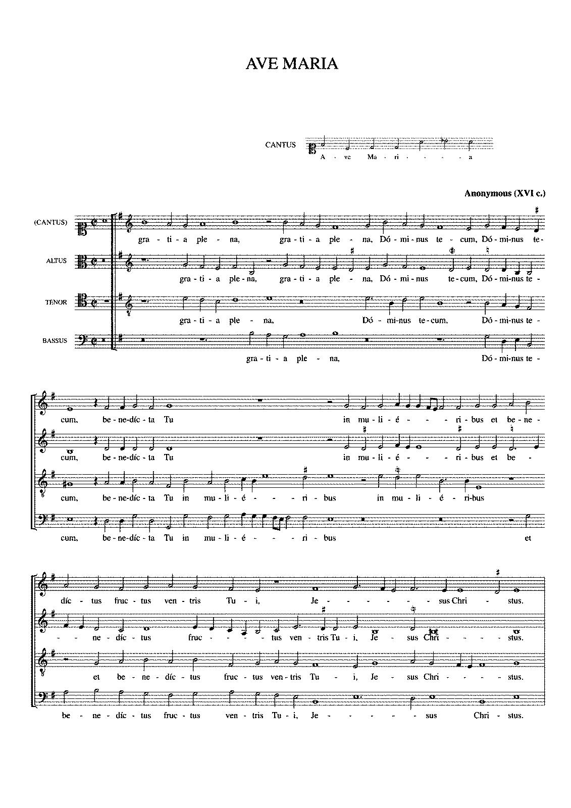 Préférence Ave Maria for 4 voices (Victoria, Tomás Luis de) - IMSLP/Petrucci  JA68