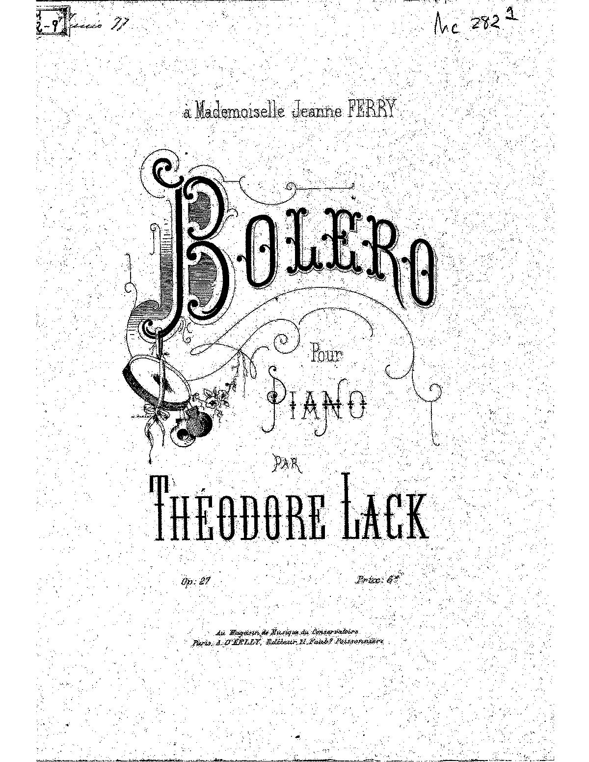 Boléro, Op.27 (Lack, Théodore) - IMSLP/Petrucci Music ... Theodore Lack