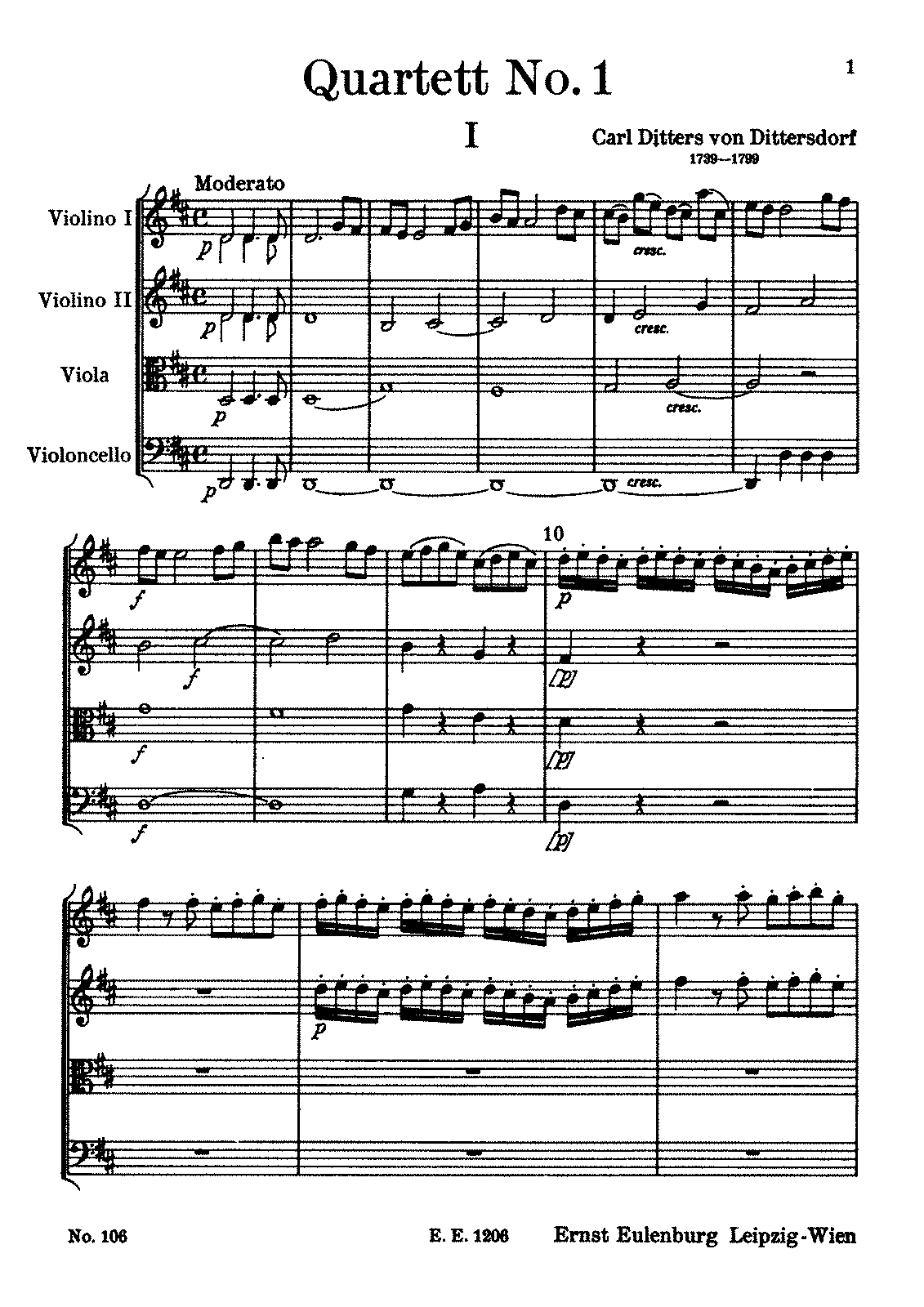Dittersdorf String Quartet No.1 in D.pdf