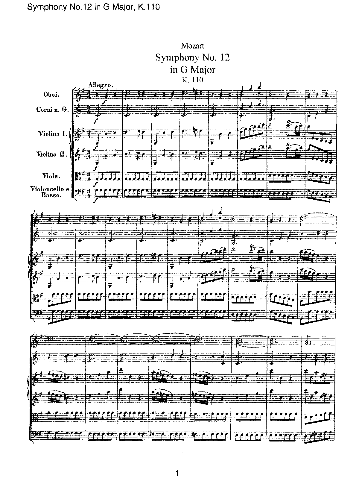 Mozart - Symphony No 12 in G Major, K110.pdf