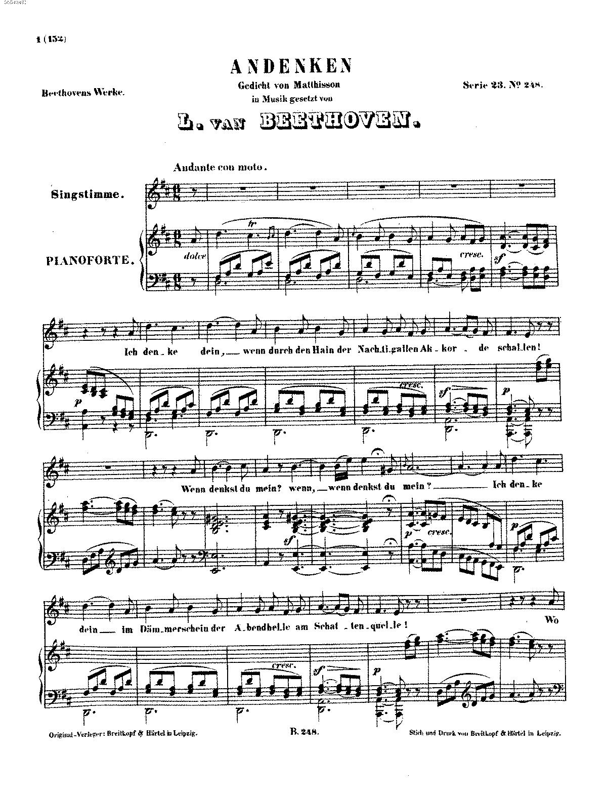 andenken woo beethoven ludwig van petrucci music complete