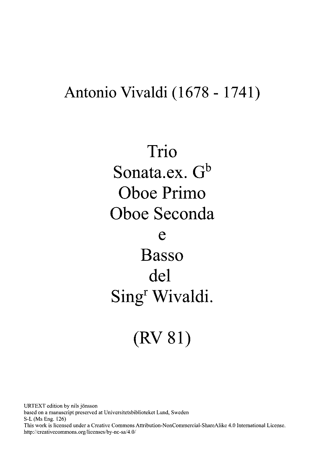 Trio Sonata In G Minor RV 81 Vivaldi Antonio