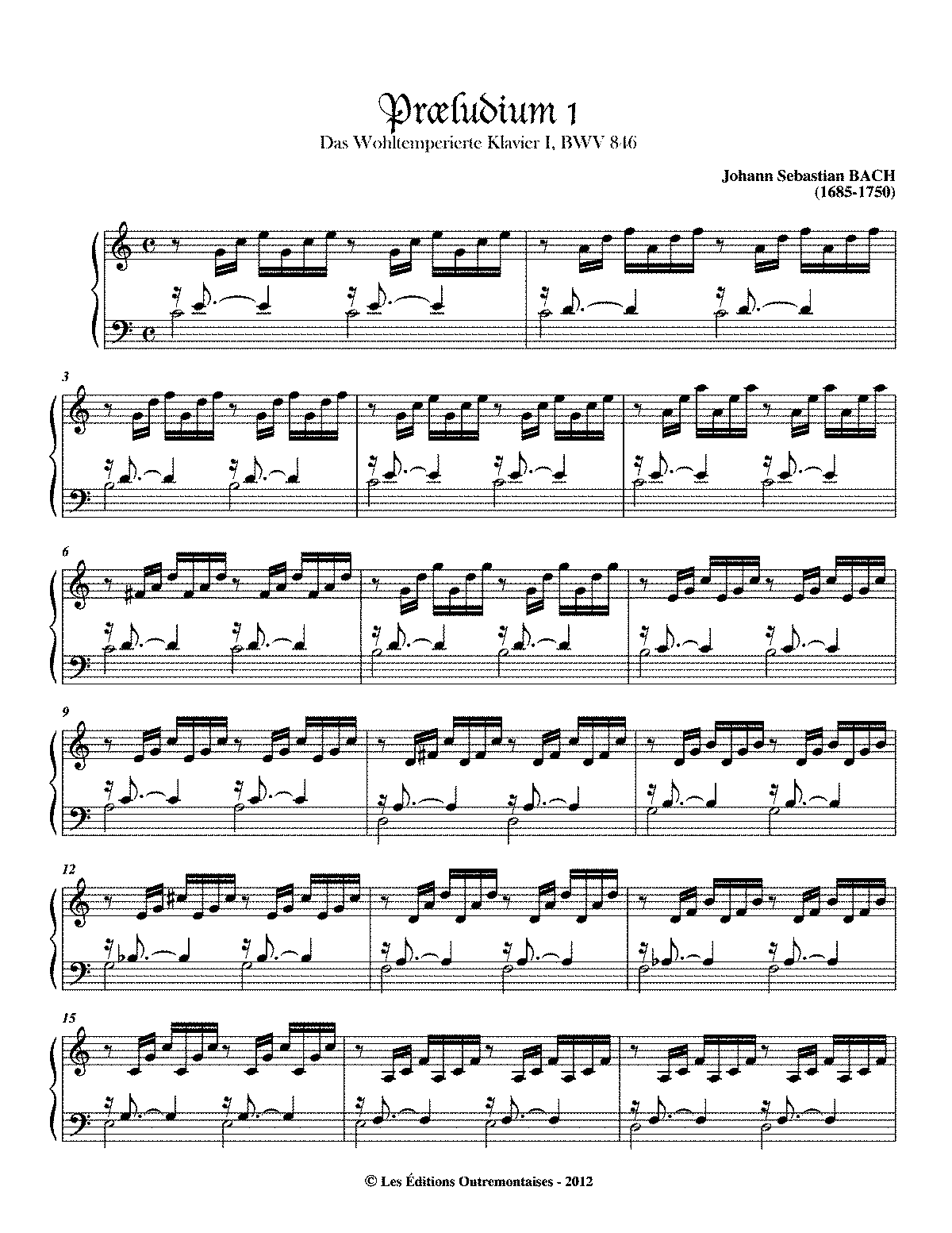 prelude and fugue in c major bwv 846 bach johann