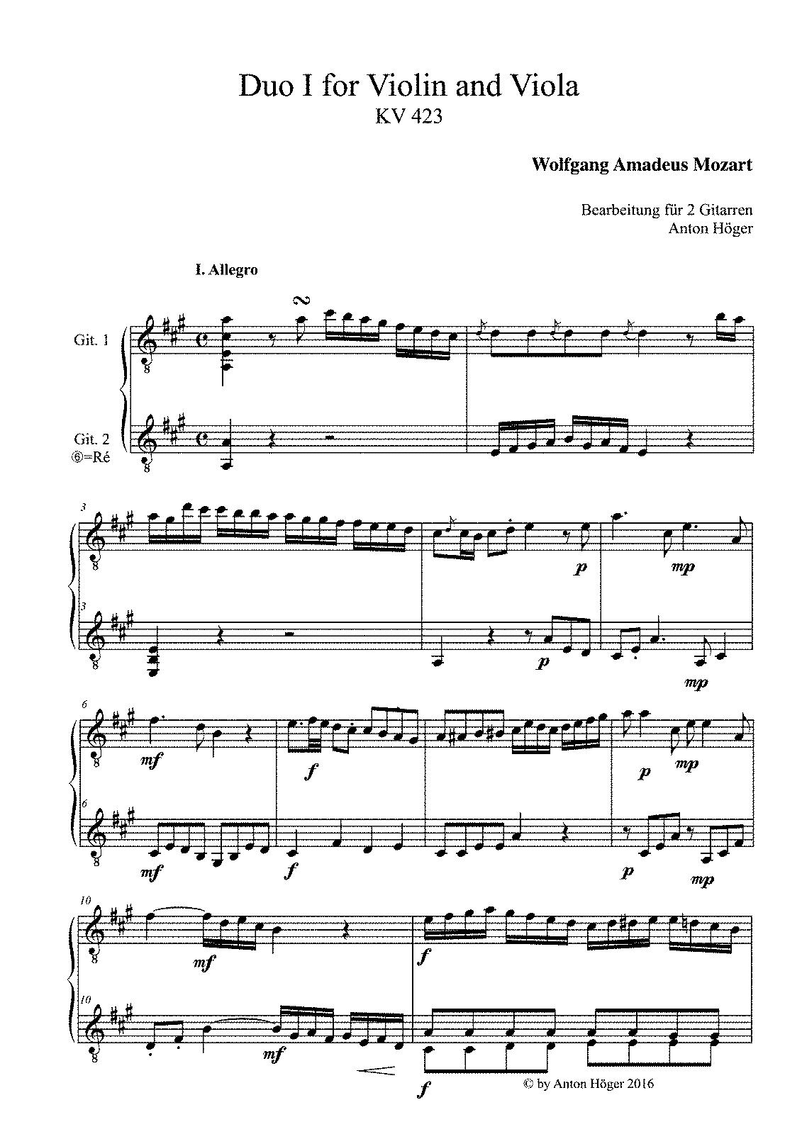 duo for violin and viola  k 423  mozart  wolfgang amadeus