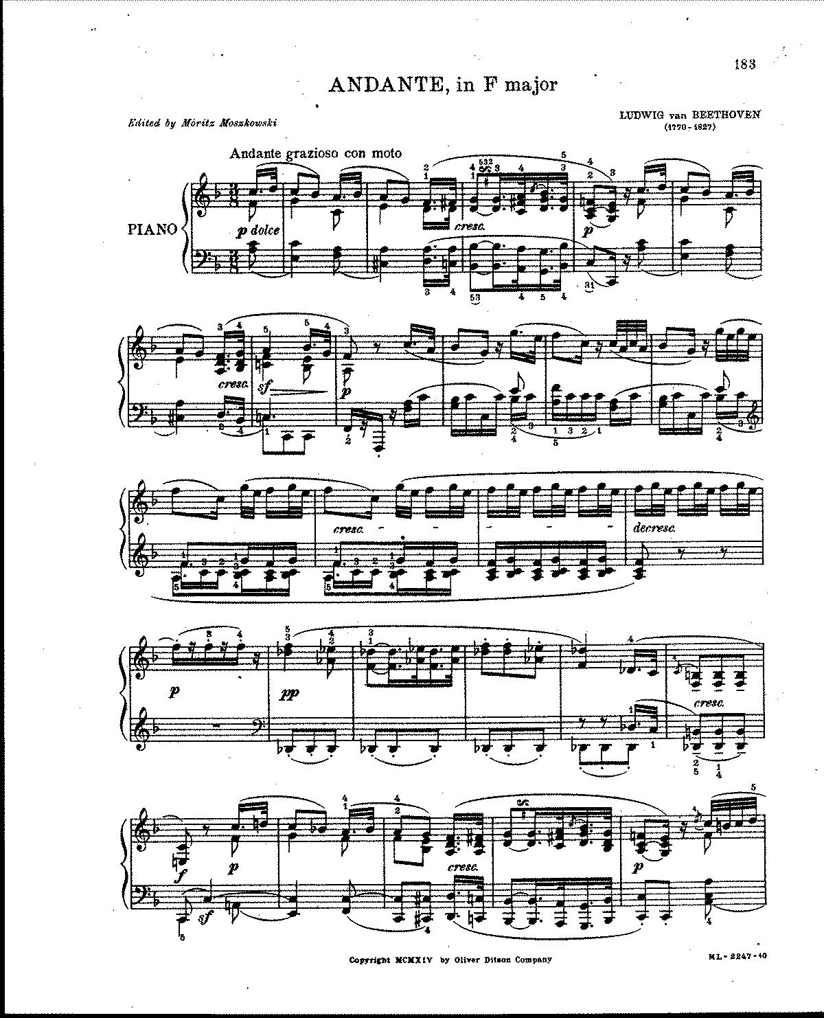 Free Sheet Music Public Domain: Andante Favori, WoO 57 (Beethoven, Ludwig Van)