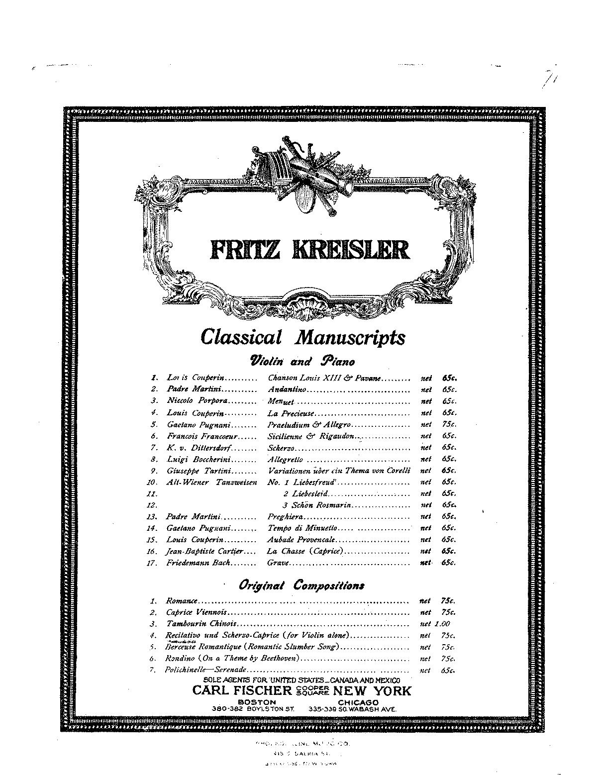 Fritz Kreisler Caprice Viennois Suzuki Book