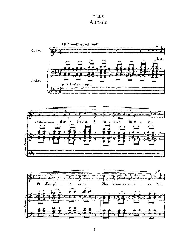 Free Sheet Music Public Domain: 3 Songs, Op.6 (Fauré, Gabriel)