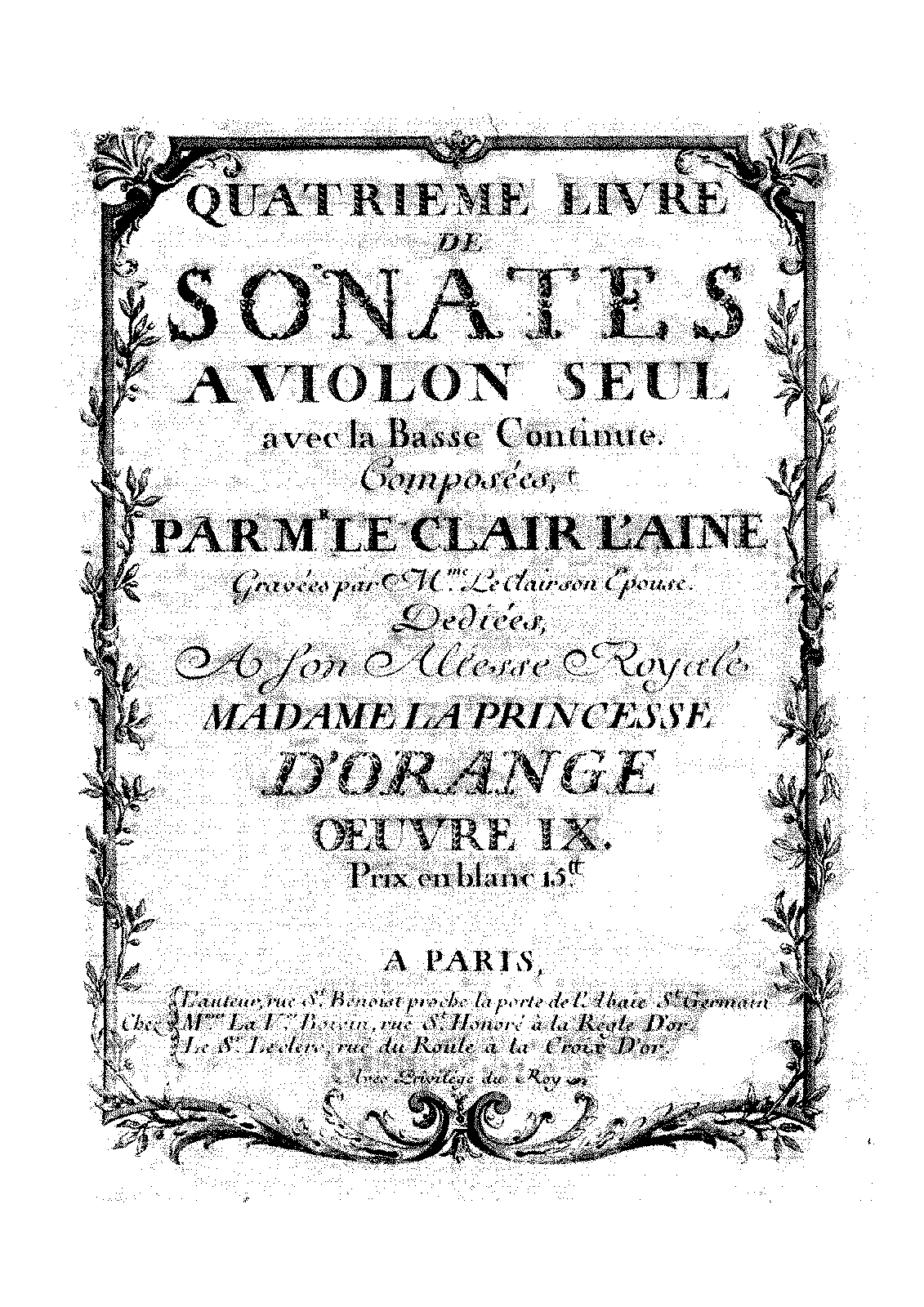 12 violin sonatas op 9 leclair jean marie imslp petrucci