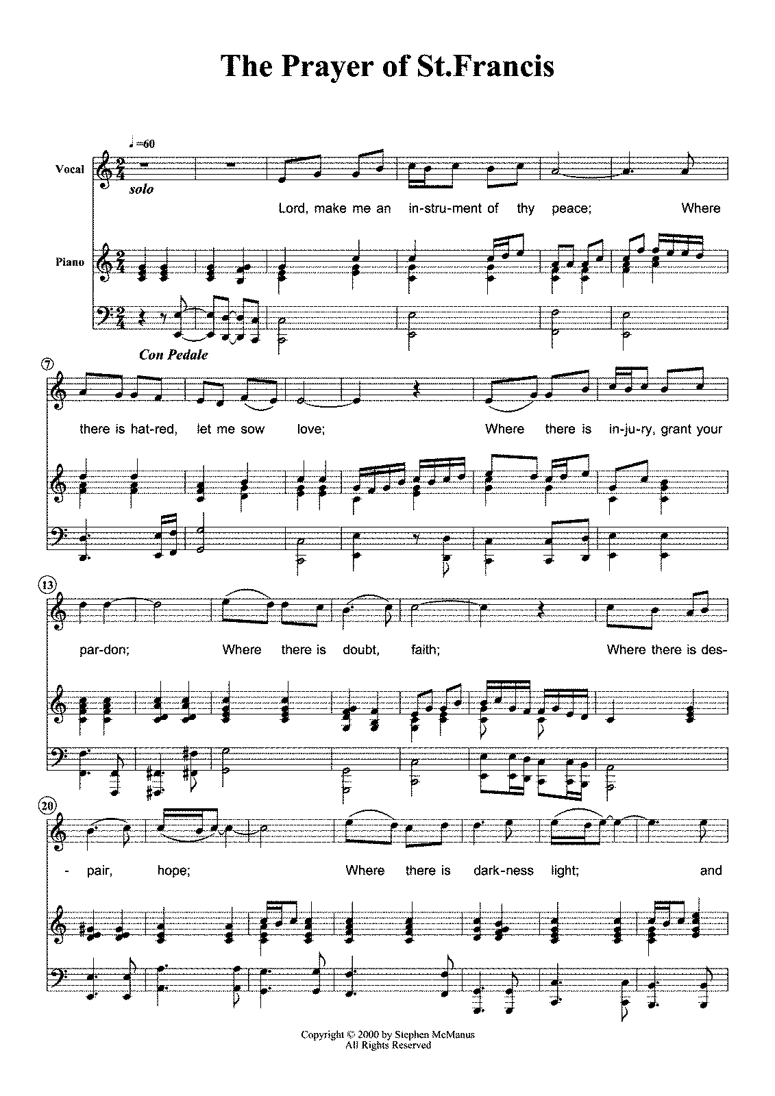 Prayer Of St Francis Sheet Music Ibovnathandedecker