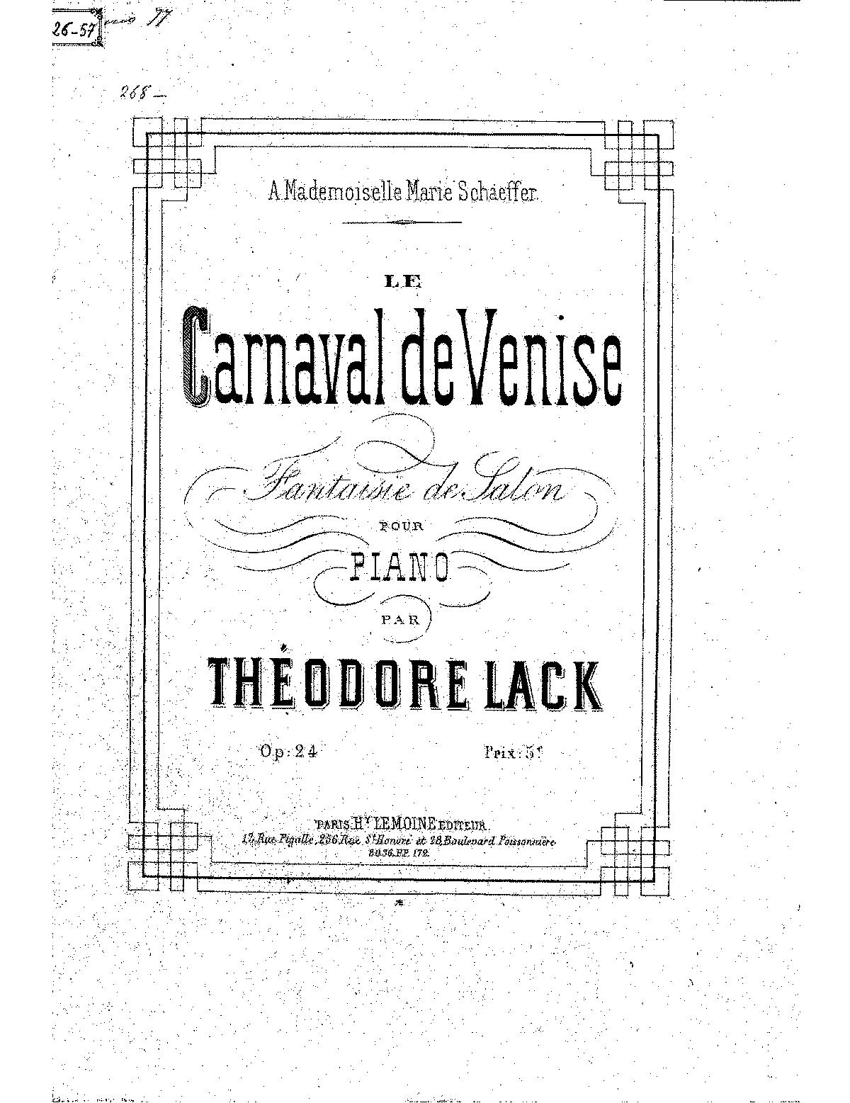 Le carnaval de Venise, Op.24 (Lack, Théodore) - IMSLP ... Theodore Lack