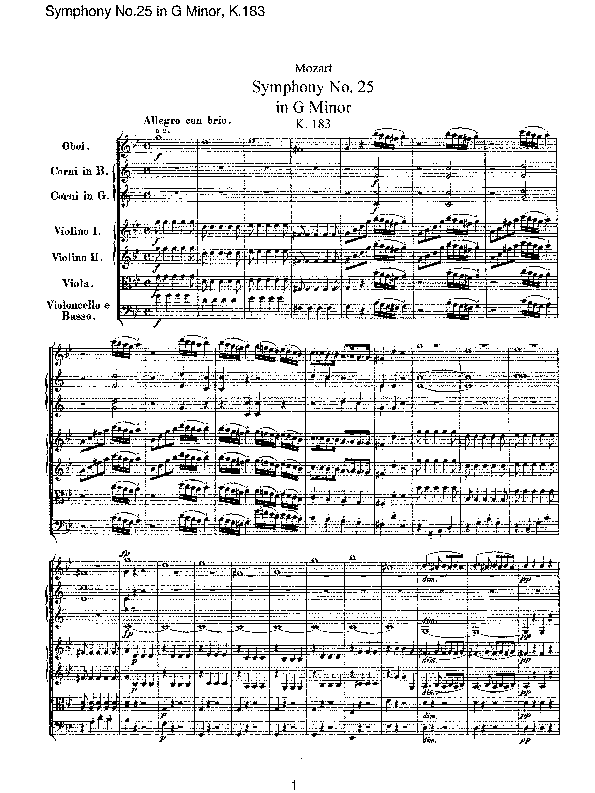 Mozart - Symphony No 25 in G Minor, K183.pdf
