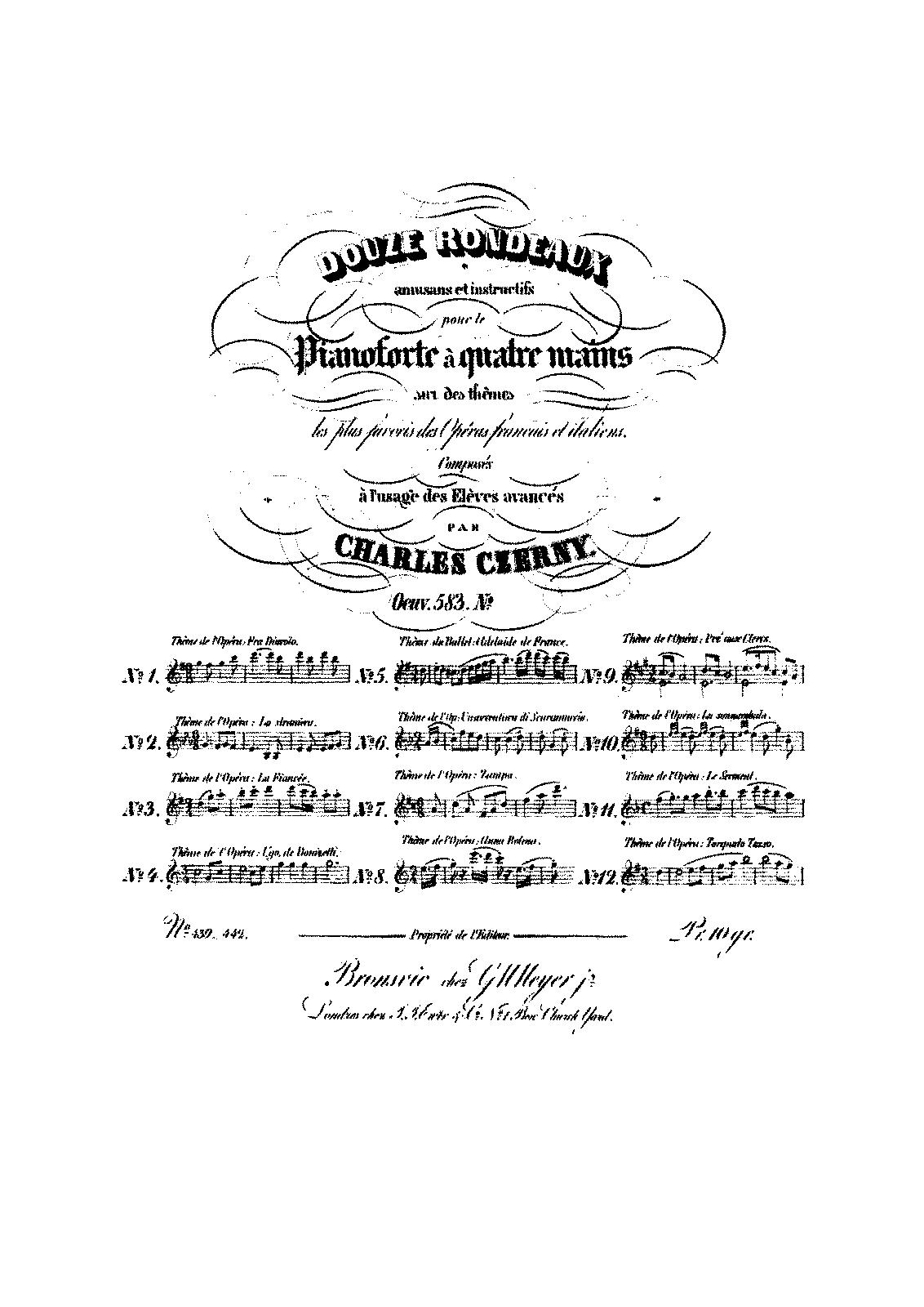 12 rondeaux amusans et instructifs  op 583  czerny  carl