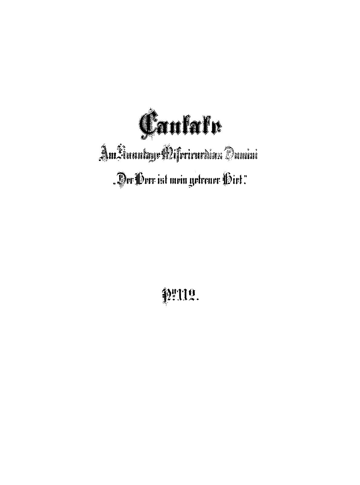 Der Herr ist mein getreuer Hirt, BWV 112 (Bach, Johann Sebastian ...