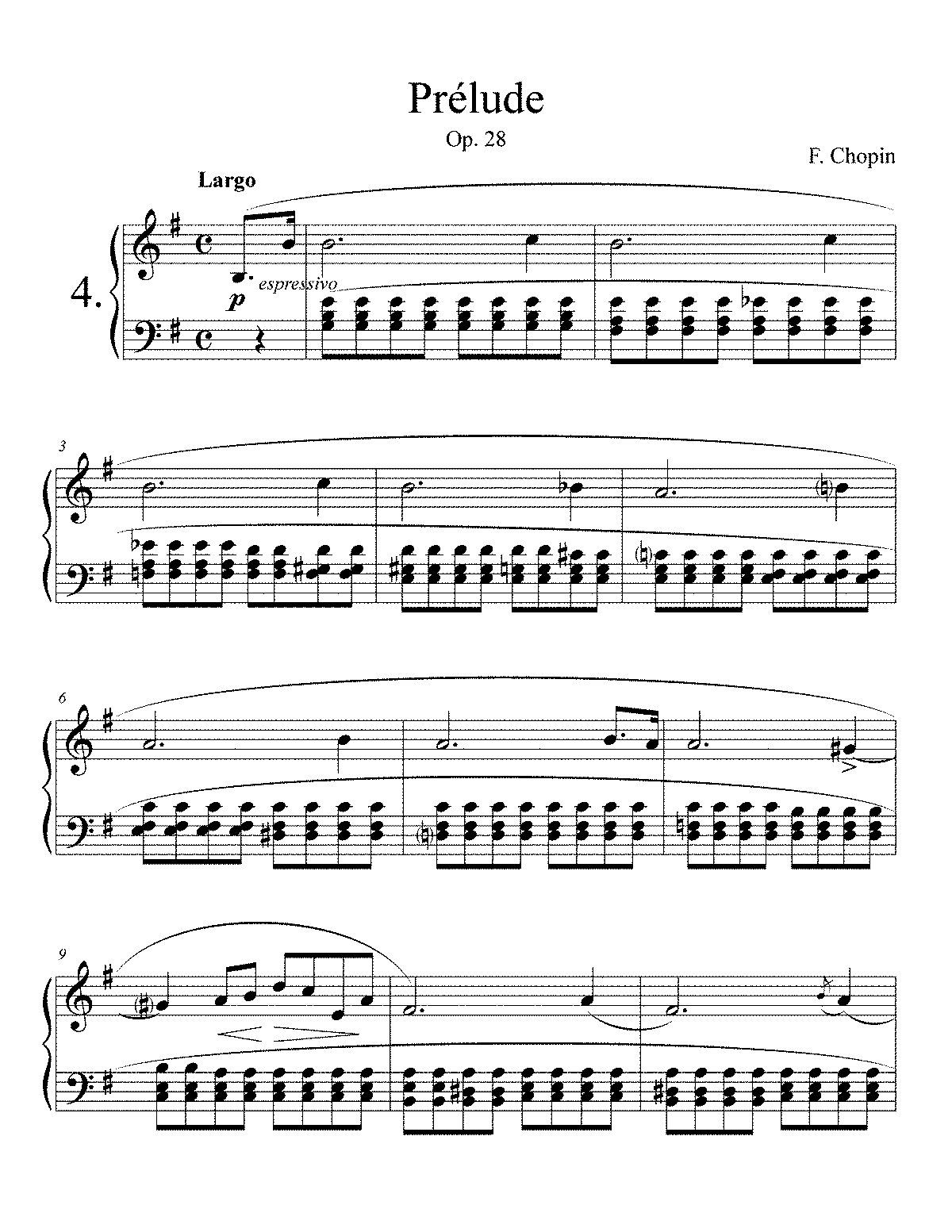 chopin prelude Print and download prelude no 4 in e minor, op28, no4 sheet music composed by frederic francois chopin arranged for piano instrumental solo in e minor sku: mn0082261.