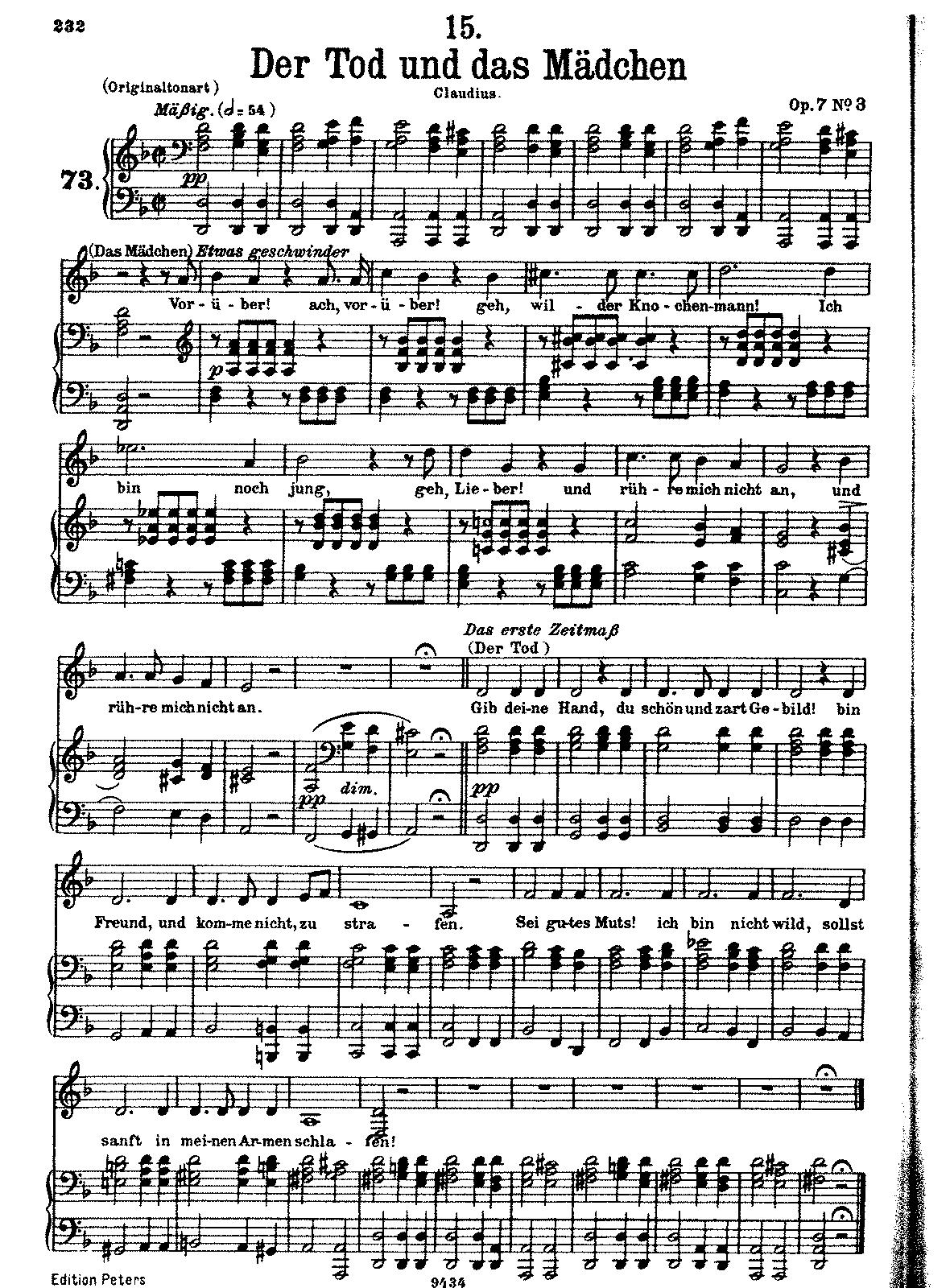 Der Tod und das Mdchen D531 Schubert Franz  IMSLPPetrucci