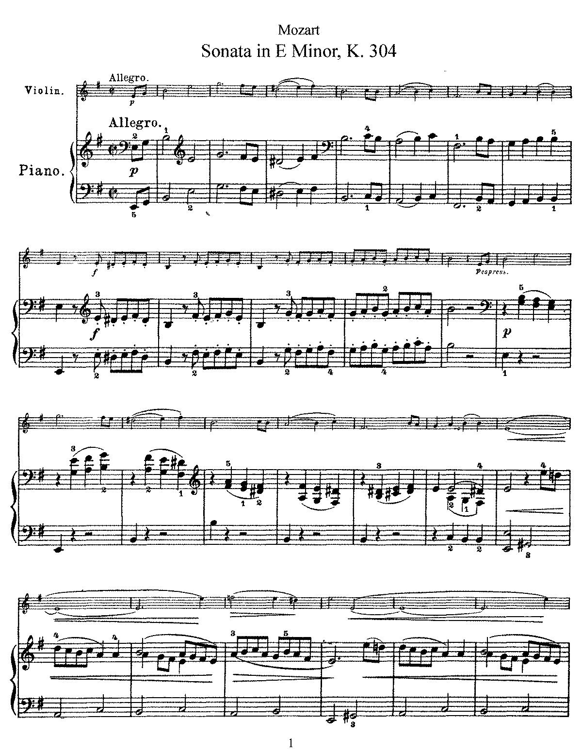 Violin sonata in e minor k304300c mozart wolfgang amadeus sheet music hexwebz Image collections