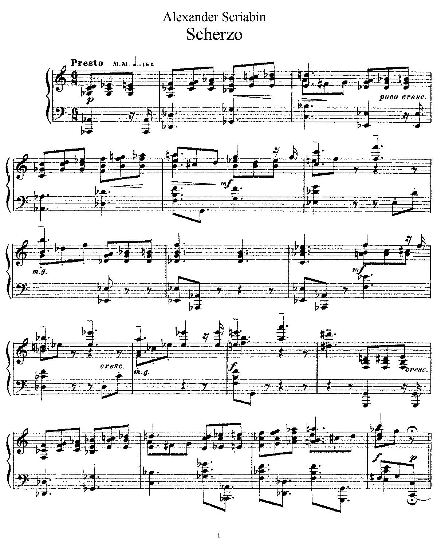 Free Sheet Music Public Domain: Scherzo, Op.46 (Scriabin, Aleksandr)