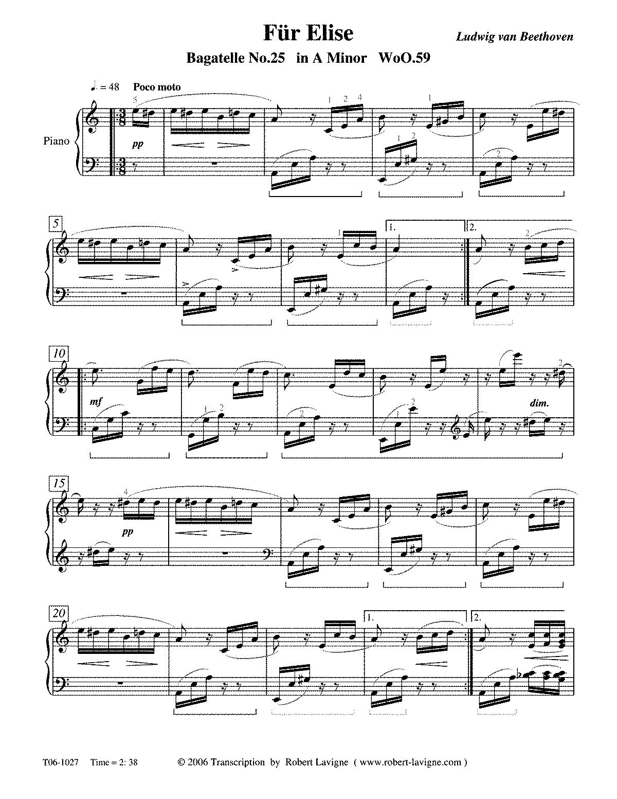 Fur Elise Free Printable Sheet Music - Music-for-Music ...