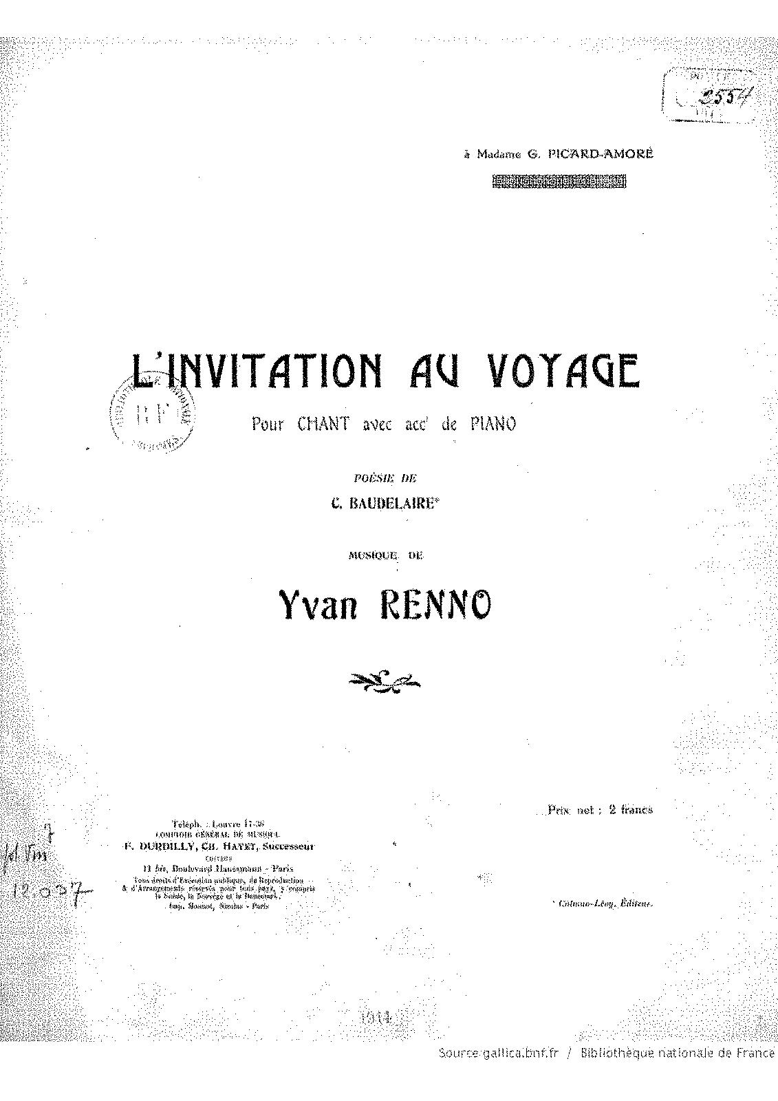 Linvitation au voyage renno yvan imslppetrucci music library general information stopboris Gallery