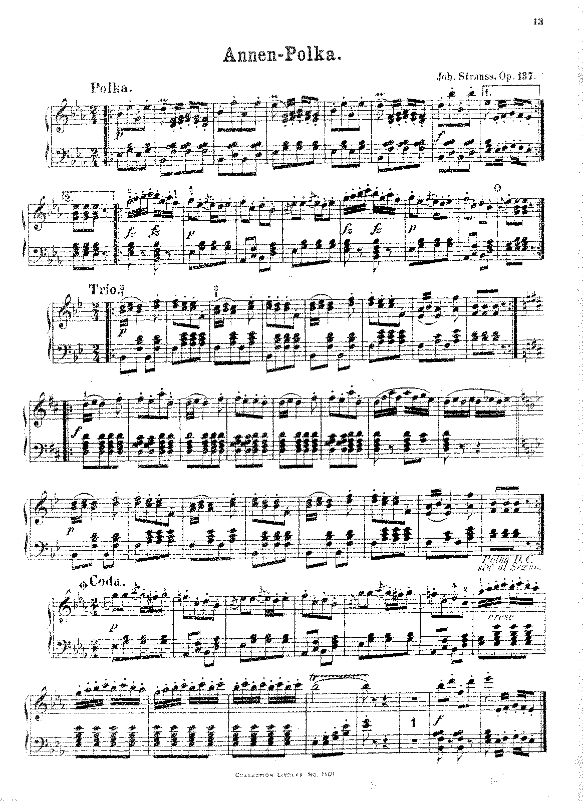 annen polka op strauss sr johann petrucci music for piano solo gorner