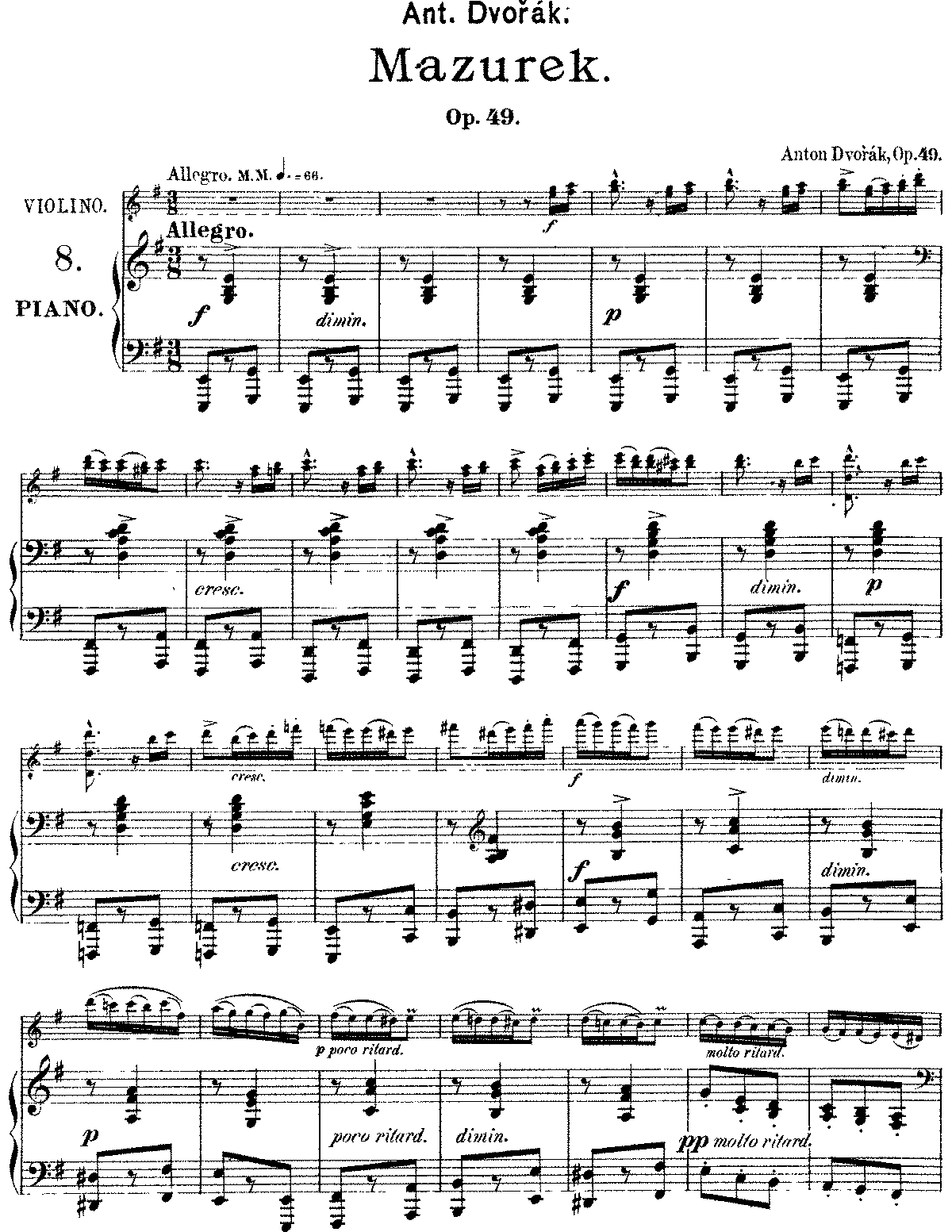 Dvorak - Op.49 - Mazurka for Violin and Piano.pdf