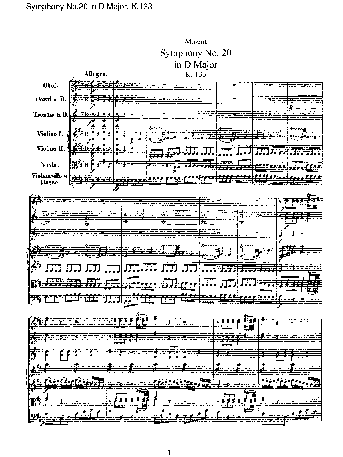 Mozart - Symphony No 20 in D Major, K133.pdf