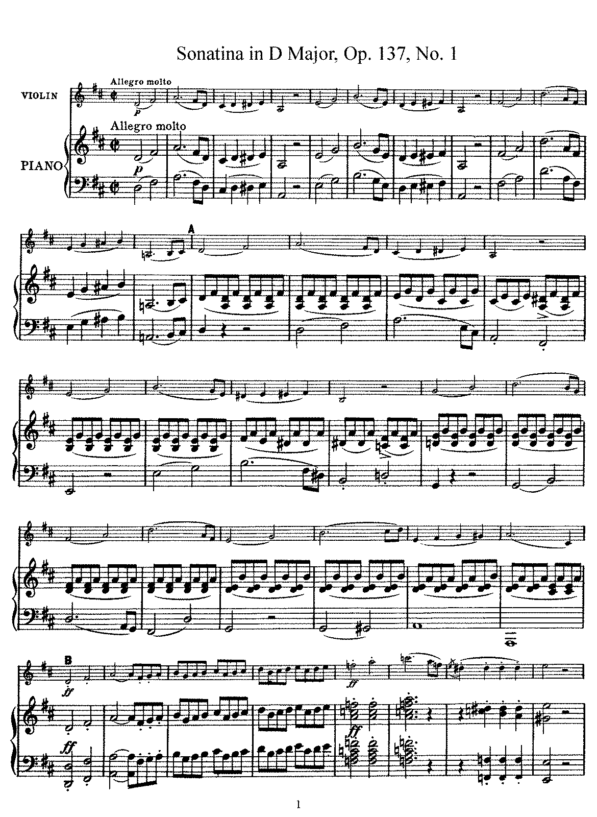 Schubert - D.384 - Violin Sonatina in D Major (Op.137 No.1).pdf