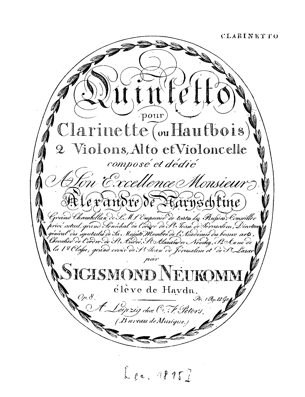 PMLP198687-Neukomm - Quintet Op8 for Clarinet (or Oboe) 2Violins Viola and Cello Leipzig 1815 clarinet.pdf