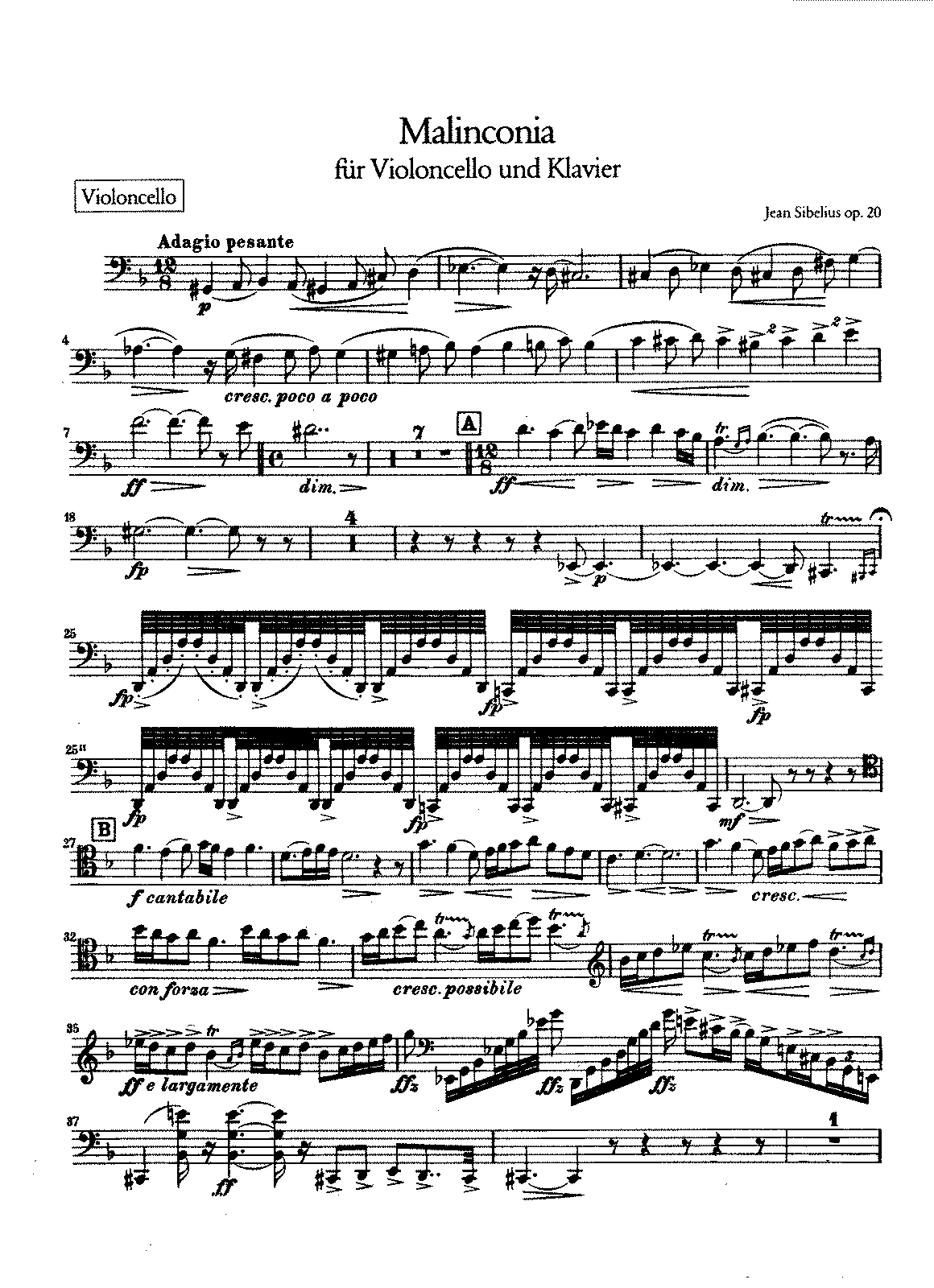 Sibelius - Malinconi, Op.20 (cello and piano).pdf