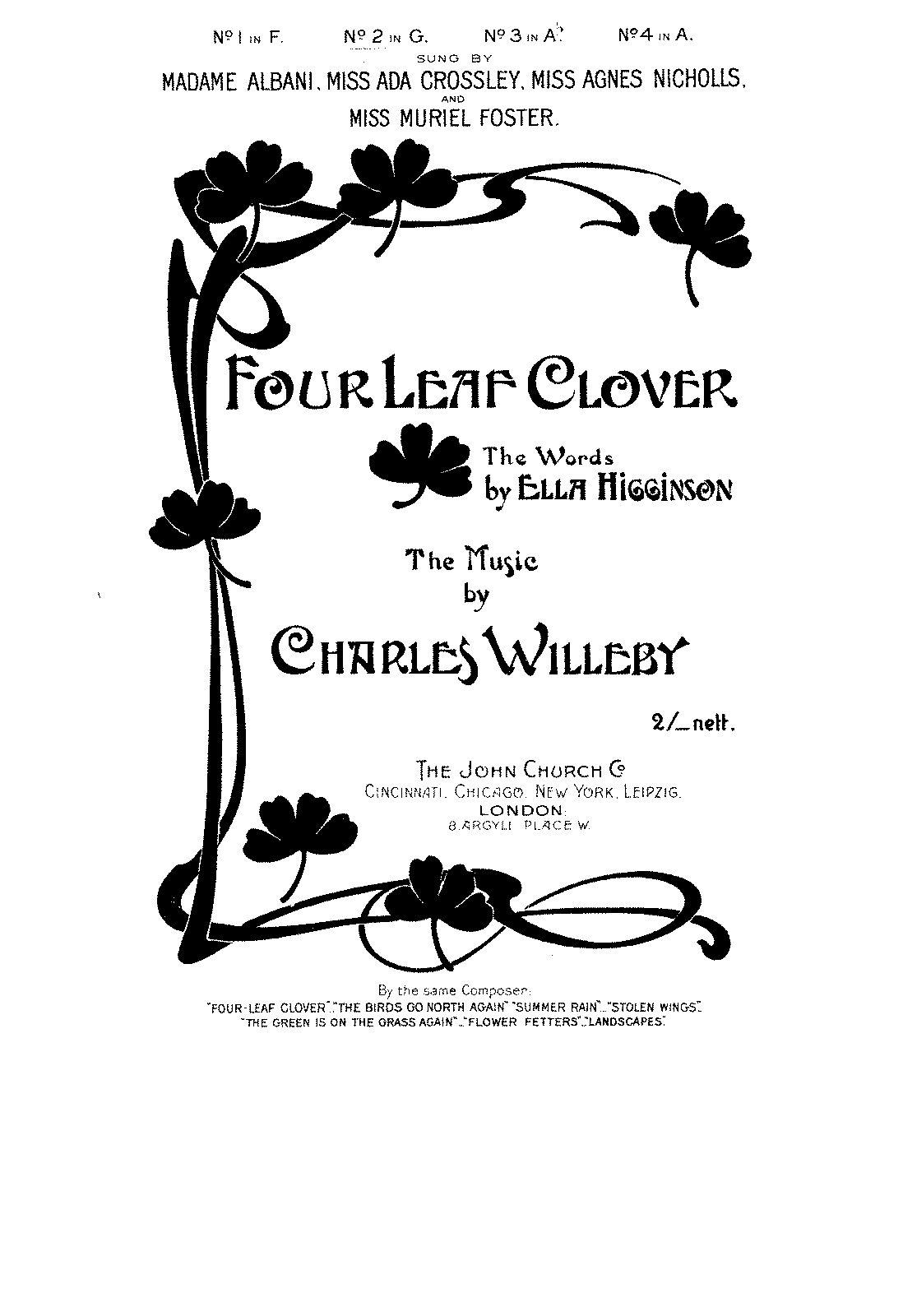 four leaf clover willeby charles imslp petrucci music library