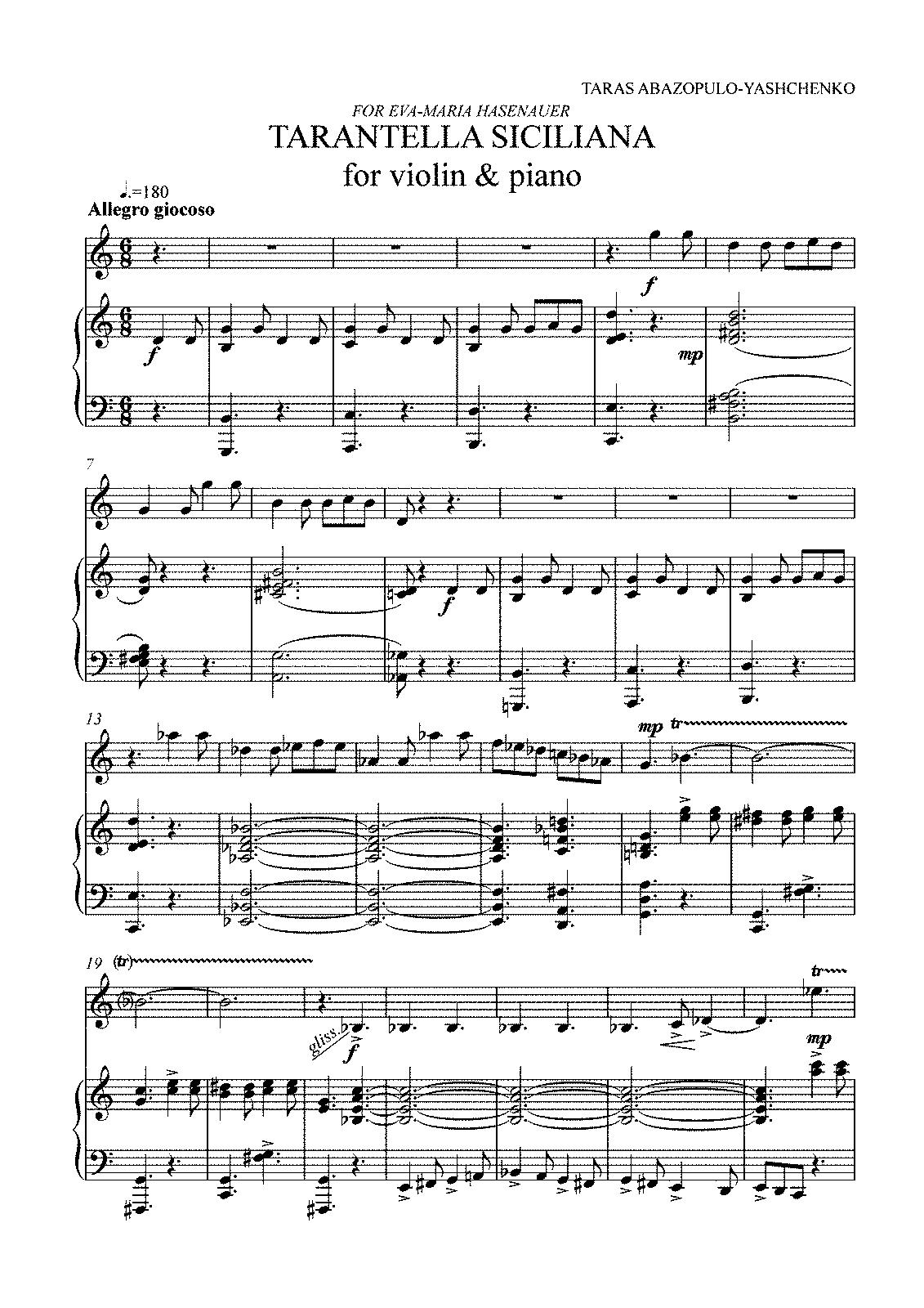 tarantella piano sheet music