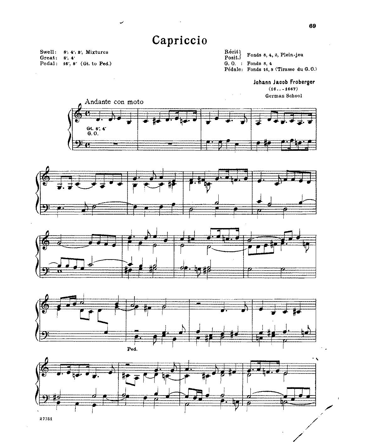 Free Sheet Music Public Domain: Capriccios (Froberger, Johann Jacob)