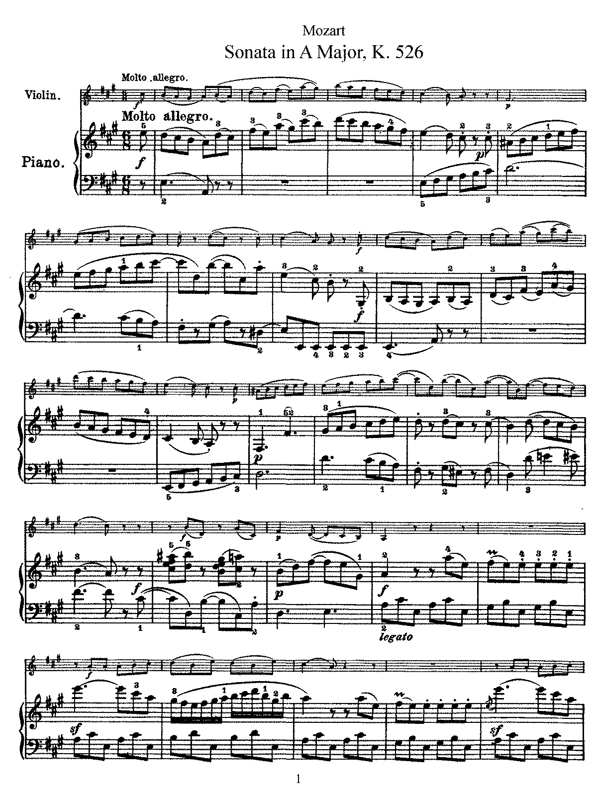 Violin Sonata in A major, K.526 (Mozart, Wolfgang Amadeus) - IMSLP ...