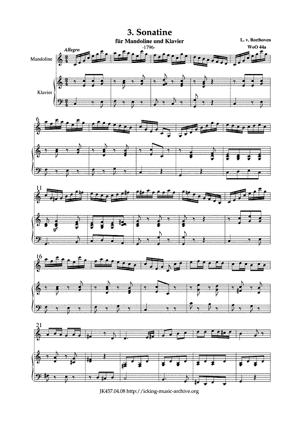 Sonatina for Mandolin and Piano WoO 44a Beethoven Ludwig van – Beethoven Worksheet