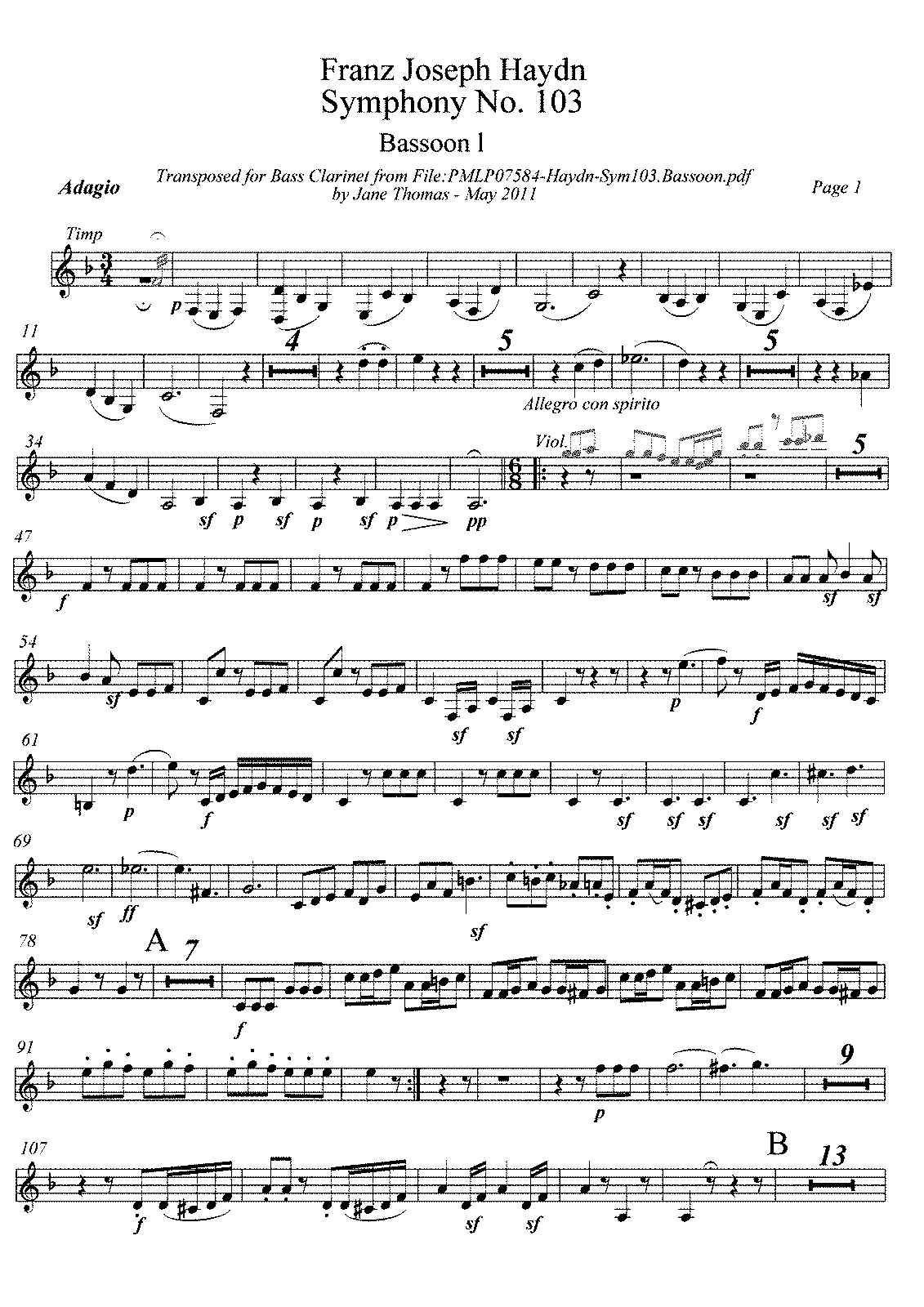 PMLP07584-Haydn-Symphony 103.Bassoon 1 transposed for Bass Clarinet.pdf