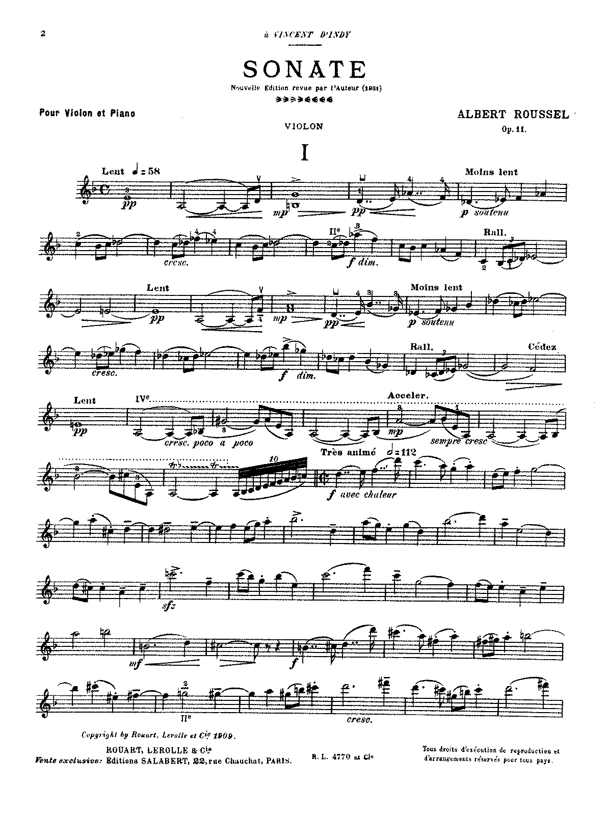 Roussel - Sonata for Violin and Piano No. 1, Op. 11.pdf