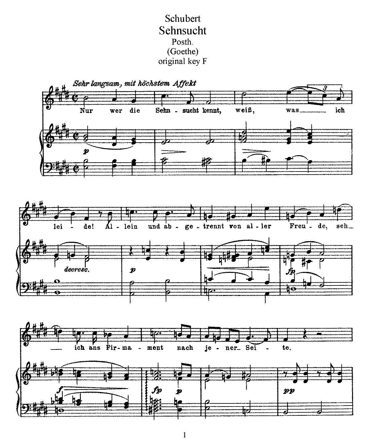 Free Sheet Music Public Domain: Sehnsucht, D.310 (Schubert, Franz)