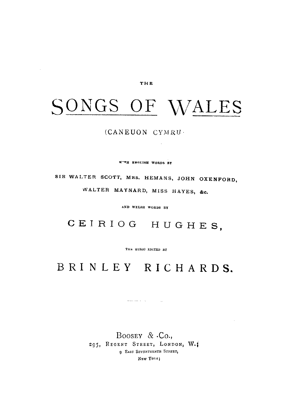 The Songs of Wales Richards Brinley IMSLP Petrucci Music