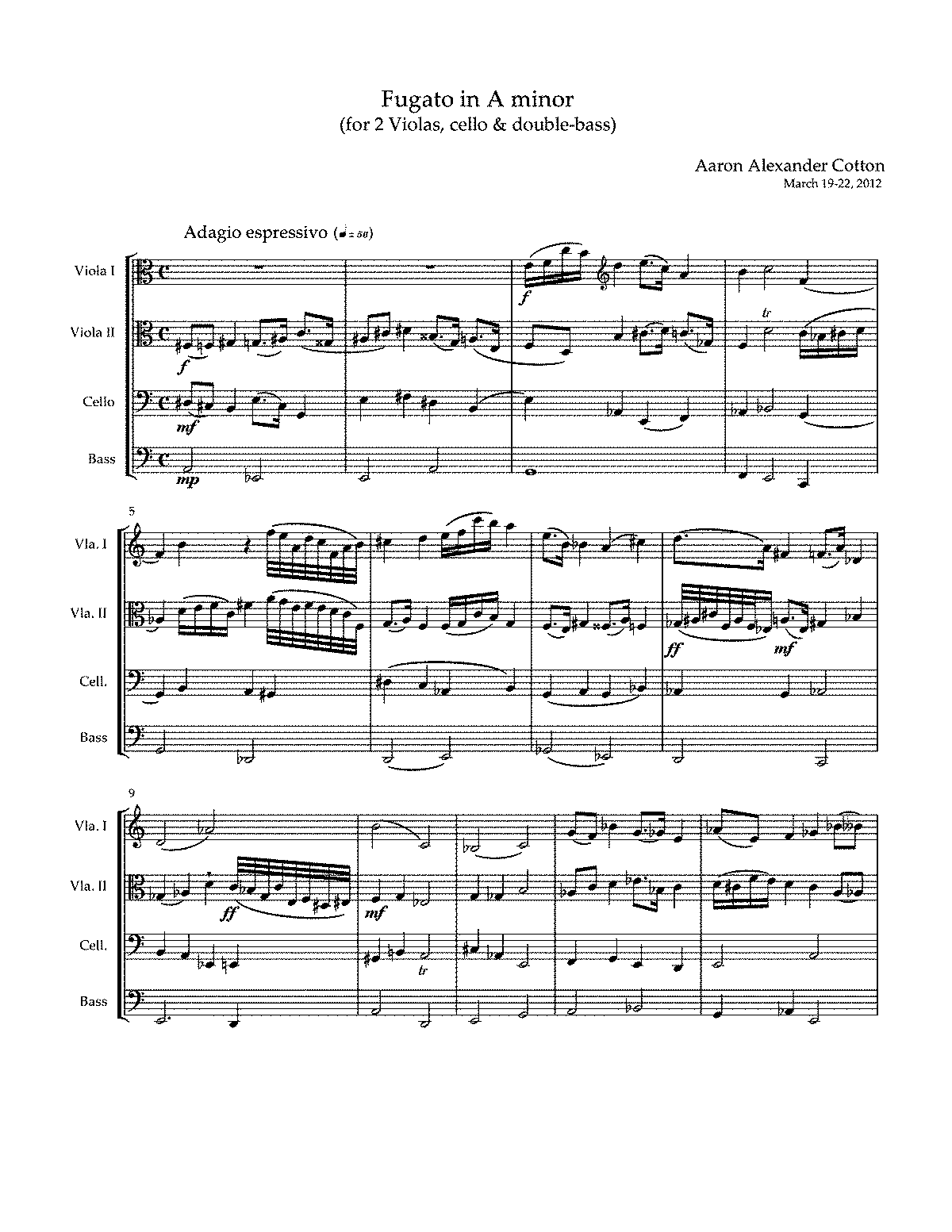 PMLP329881-Fugato in A minor (for 2 Violas, cello & double-bass) by Aaron Alexander Cotton.pdf