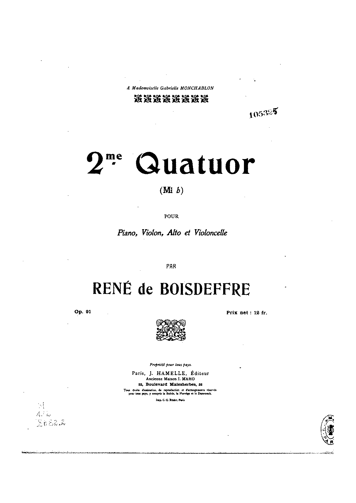 Boisdeffre Piano Quartet No.2 All parts.pdf