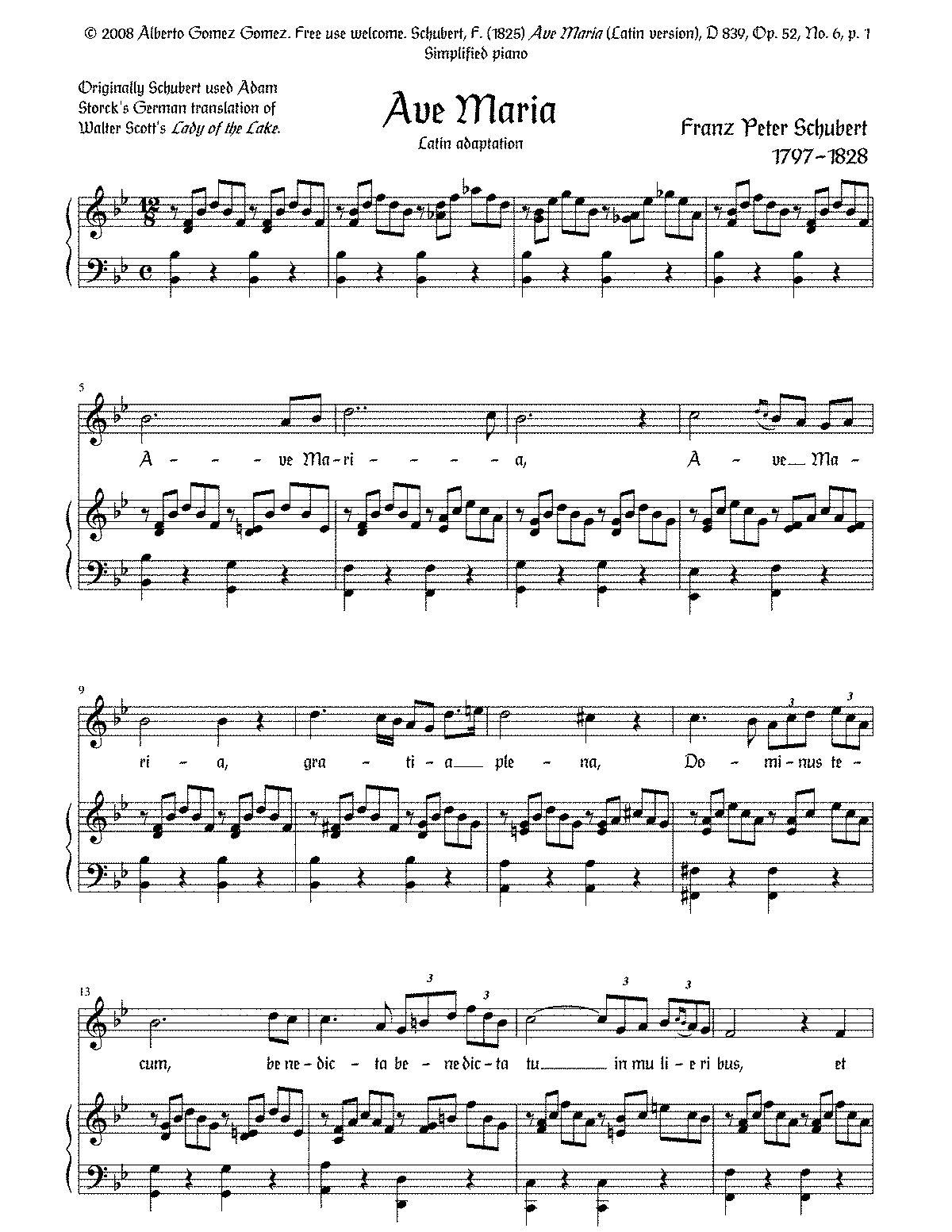 ave maria schubert sheet music pdf