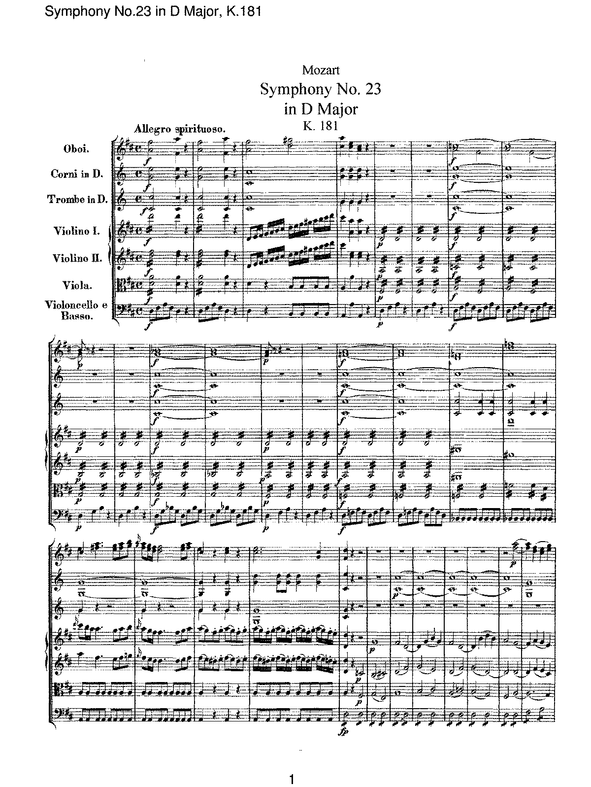 Mozart - Symphony No 23 in D Major, K181.pdf