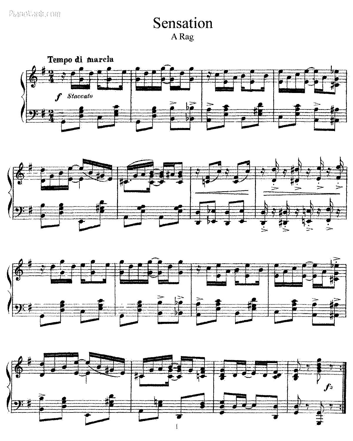 Free Sheet Music Public Domain: Sensation (Lamb, Joseph Francis)