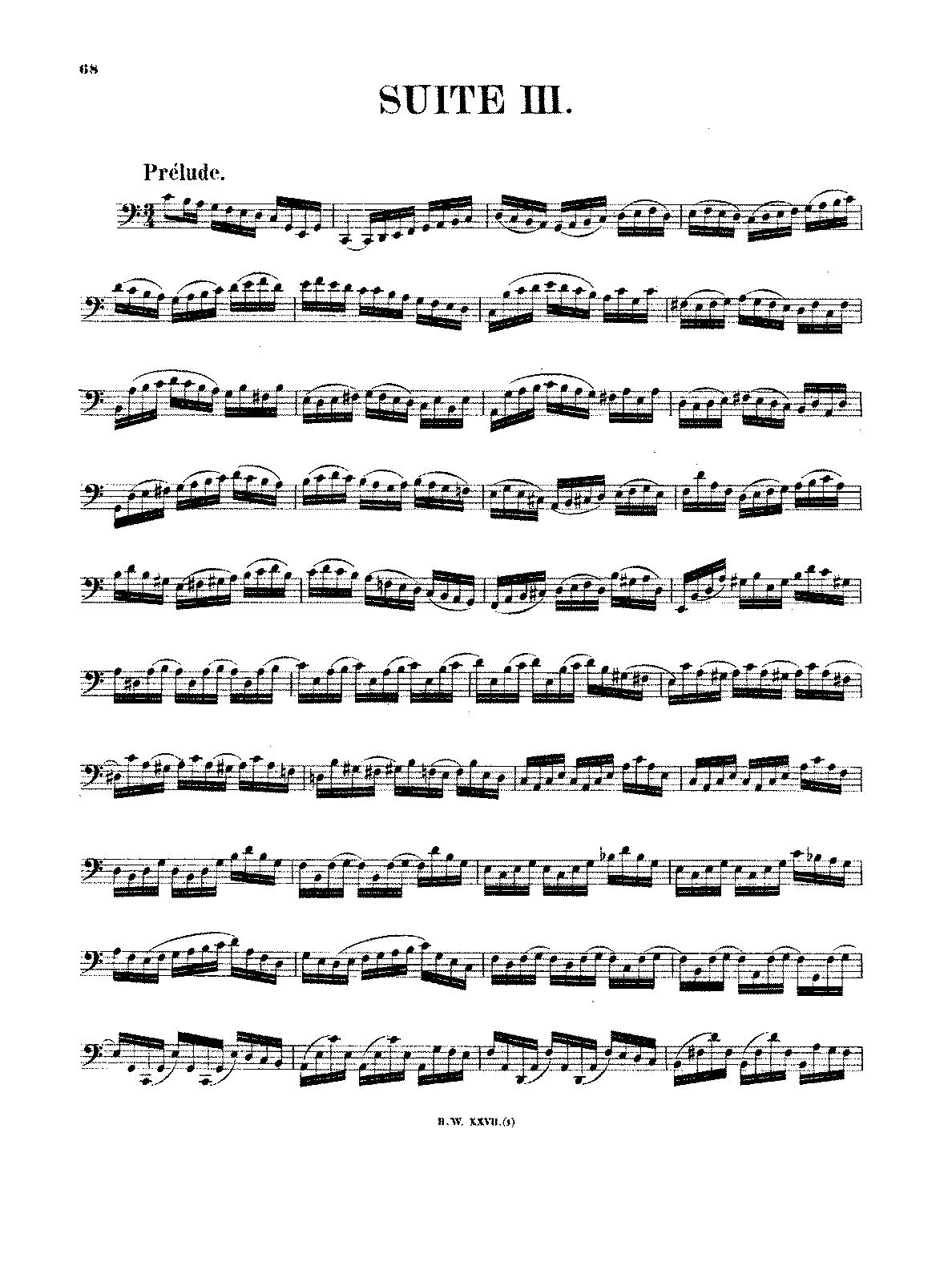 Cello Suite No 3 in C major, BWV 1009 (Bach, Johann