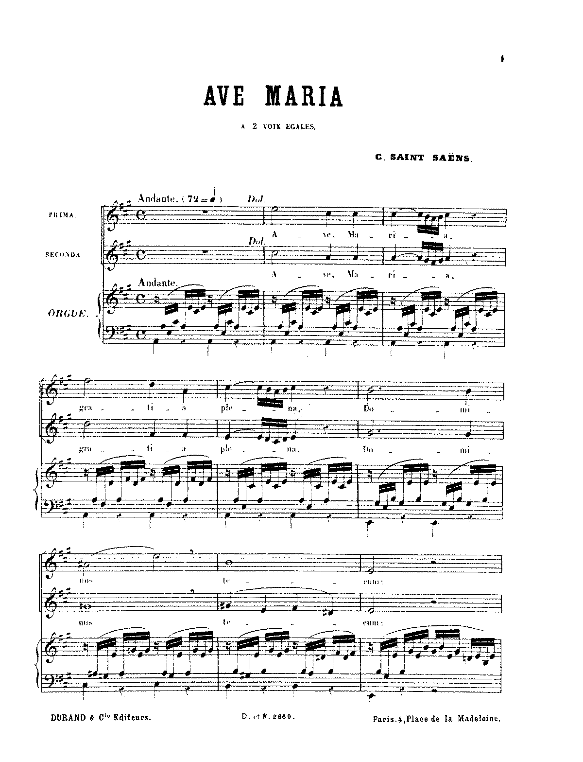 Ave maria in a major 1860 saint sans camille imslp arrangements and transcriptions hexwebz Images