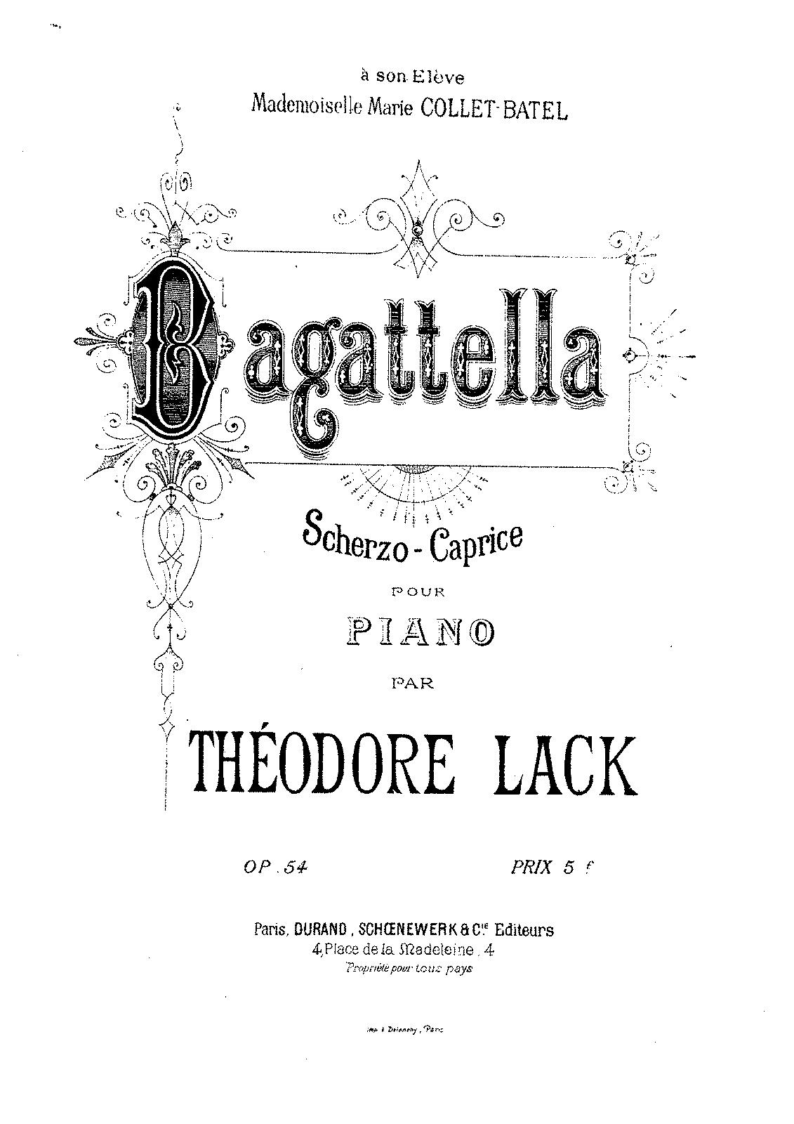 Bagatella, Op.54 (Lack, Théodore) - IMSLP/Petrucci Music ... Theodore Lack