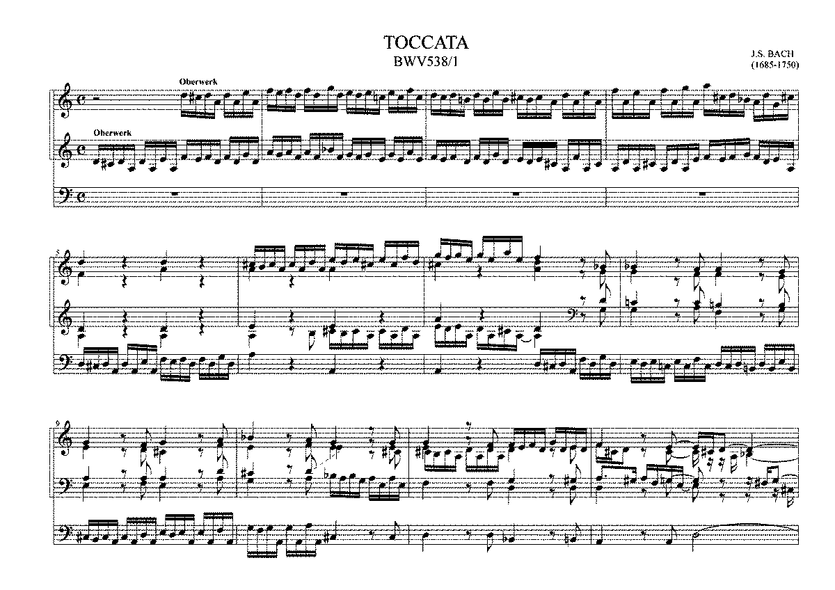 Toccata and Fugue in D minor, BWV 538 (Bach, Johann