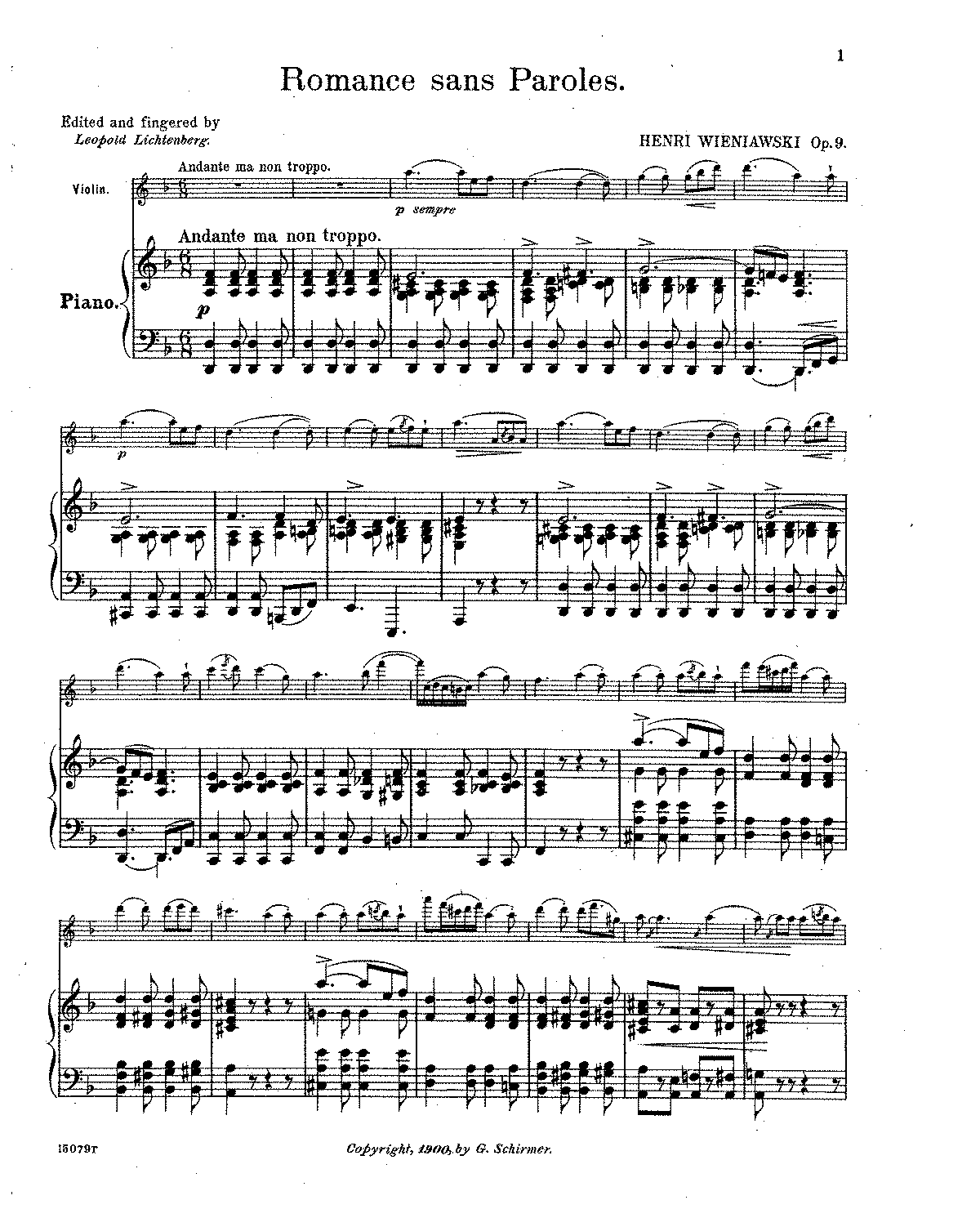 r ce sans paroles op wieniawski henri petrucci  sheet music