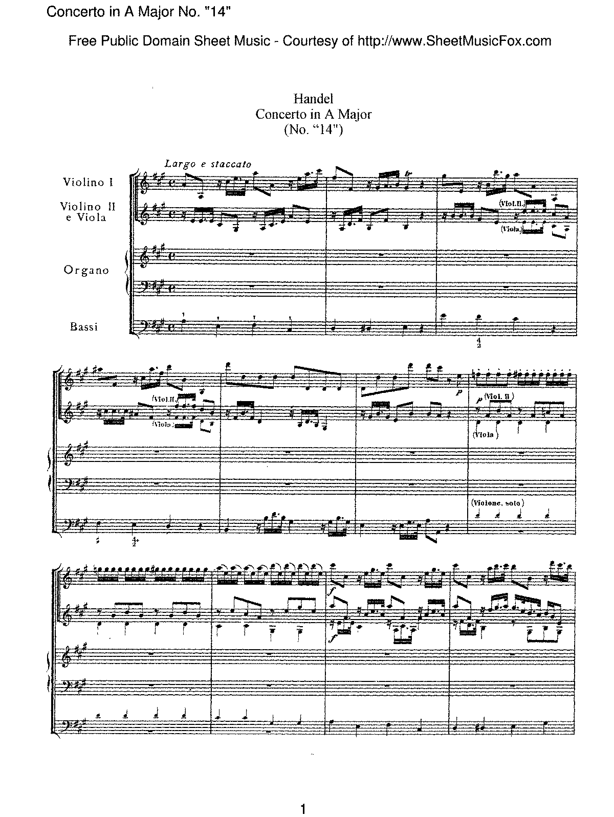 Handel - Concerto in A major, No. '14'.pdf